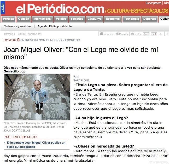 Joan Miquel Oliver. Entrevista en el Periódico