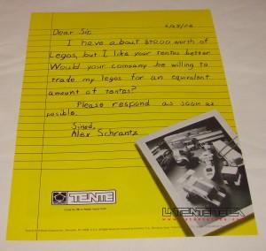 Anuncio-carta de TENTE de Hasbro