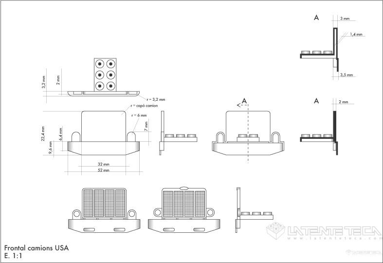 Plano técnico de la nueva pieza frontal-radiador